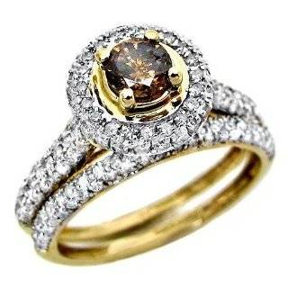 14k Yellow Gold Engagement Ring 1.23 ct Large Brown Diamond Center & 0.40 Ct Bridal Set 287 Natural Diamonds Size 7 Jewelry