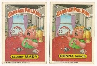 Topps GARBAGE PAIL KIDS Cards 8th SERIES 298 a & b Bloody mary Donna Donor