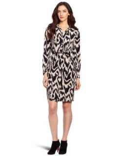 Anne Klein Women's Printed Polo Dress, Ivory/Black, Large Clothing