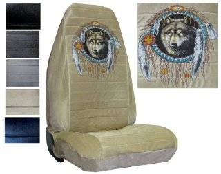 Seat Cover Connection Native Wolf Dreamcatcher print 2 High Back Bucket Car Truck SUV Seat Covers   Tan Automotive