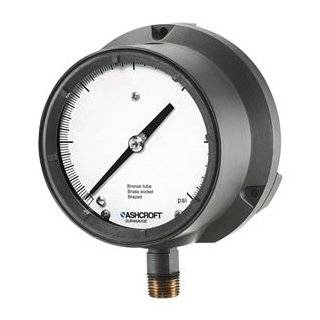 "Ashcroft Duragauge Type 1379 Solid Front Aluminum Case Pressure Gauge, 316 Stainless Steel Bourdon Tube and Tip, 316 Stainless Steel Socket, 4 1/2"" Dial Size"
