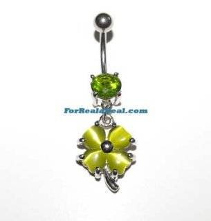 Gem Four Leaf Clover Belly Button Rings