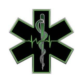 "Green EMT EMS Star Of Life With Heartbeat   2"" h   REFLECTIVE"