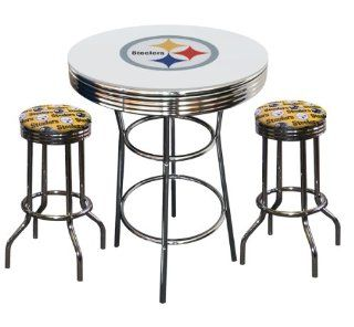 Pittsburgh Steelers NFL Fabric Seat Barstools Football Logo White Table Glass Top 2 Yellow Swivel Bar Stools   Home Bars
