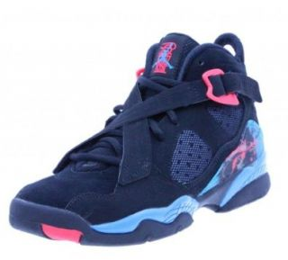Nike Air Jordan 8.0 Girls Basketball Shoes, Black/Blue, 5 B US Shoes