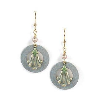 Jody Coyote Swan Lake Antique Blue Circle Earrings Green Blossom QN339 Jewelry