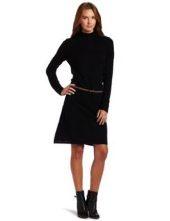 Sofia Cashmere Women's Mock Neck Sweater Dress, Black, Large Clothing