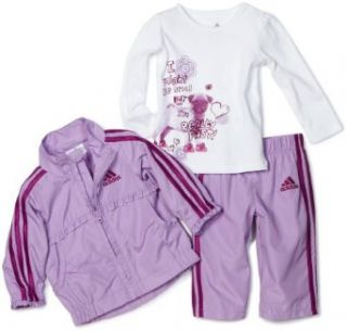 Adidas Baby girls Infant 3 Piece Wind Set, Light Purple, 12 Months Clothing