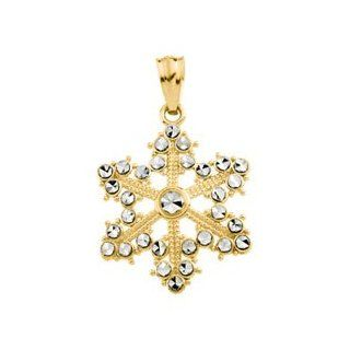 14K Yellow/White Gold Two Tone Snowflake Pendant Jewelry
