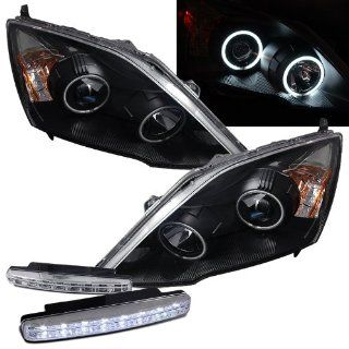 2007 2011 Honda Crv Dual Ccfl Halo Projector Headlights + 8 Led Fog Bumper Light Automotive