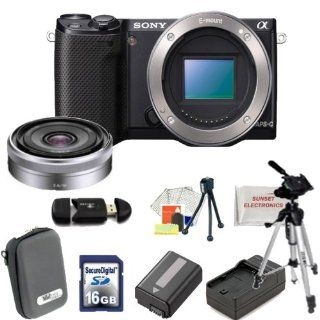 "Sony Alpha NEX 5R Mirrorless Digital Camera Kit (Black) with 16mm F2.8 E mount Lens. Includes 16GB Memory Card, Memory Card Reader, Extended Life Replacement Battery, Rapid Travel Charger, Case, 50"" Tripod Table Top Tripod, LCD Screen Protectors, Cle"
