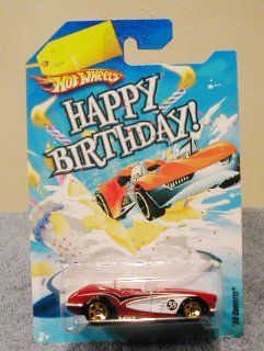 Hot Wheels Happy Birthday Cars 58 CORVETTE RED Toys & Games
