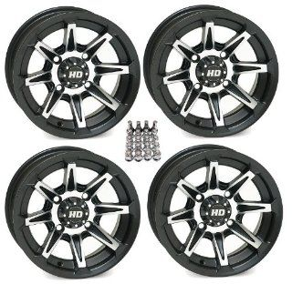 "STI HD2 ATV Wheels/Rims Black 14"" Can Am Commander Maverick Renegade Outlander (4) Automotive"