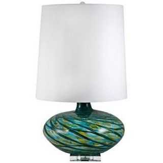 Swirl Blue Art Glass Table Lamp