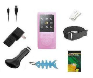 8 Items Accessory Combo Kit for Sony Walkman E Series Walkman (NWZ E353 & NWZ E354) Includes Pink Silicone Skin Case Cover, Armband, Belt Clip, LCD Screen Protector, USB Wall Charger, USB Car Charger, 2in1 USB Data Cable and Light Blue Fishbone Style