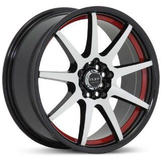 RUFF RACING 353 Red Lip. 17 Inch Machine Black Rims Automotive