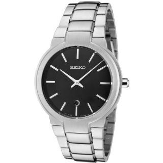 Seiko Men's SKP355 Black Dial Stainless Steel Watch Watches