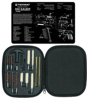 Ultimate Arms Gear Gunsmith & Armorer's Cleaning Work Bench Gun Mat SIG Sauer SIG P250 + Professional Tactical Cleaning Tube Chamber Barrel Care Supplies Kit Deluxe 17 pc Handgun Pistol Cleaning Kit in Compact Molded Field Carry Case for .22 / .357