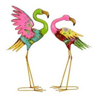 Flamingo Duo Colorful Metal Garden Lawn Decor Yard Art Patio, Lawn & Garden