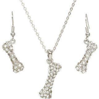 Heirloom Finds Crystal Encrusted Dog Bone Pendant Necklace and Earrings Set Jewelry