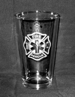 17 OZ Heavy Etched Glass Pint Beer Glass or Cooler Fire Rescue Maltese Cross   Firefighter Glasses