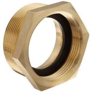 "Moon 356 2523061 Brass Fire Hose Adapter, Bushing Hex, 2 1/2"" NH Female x 3"" NPT Male Fire Hose Fittings"