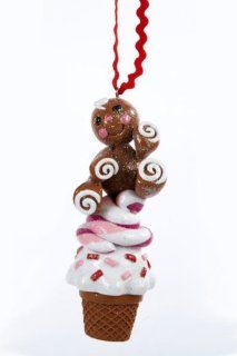 "5"" Gingerbread Kisses Cookie Figure with Ice Cream Cone Christmas Ornament"
