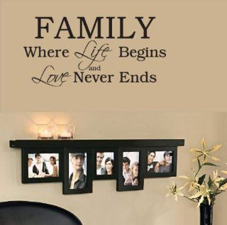 Family Where Life Begins Home Decor Wall Sticker Decal Wall Art Wall Decor Wall Sayings Famous Quotes