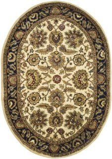 Safavieh CL359E 5OV Classics Collection Handmade Ivory and Navy Wool Oval Area Rug, 4 Feet 6 Inch by 6 Feet 6 Inch
