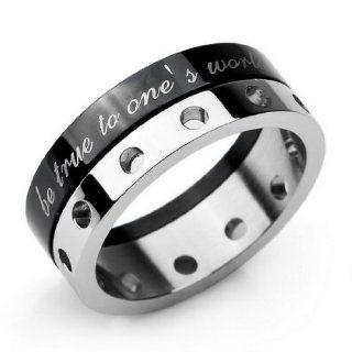 JBlue Jewelry men's Stainless Steel Wedding Band Silver Black Alphabet Ring (with Gift Bag) Jewelry