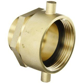 "Moon 363 2522061 Brass Fire Hose Adapter, Pin Lug Swivel, 2 1/2"" NH Swivel Female x 2"" NPT Male"