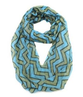 Modadorn New Arrivals Fall to Winter Vertical Chevron Infinity Print Scarf Blue