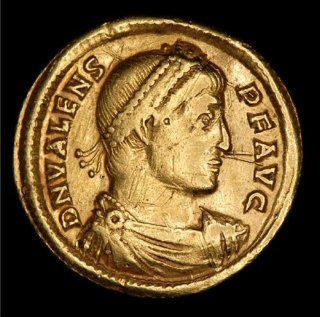 Authentic Ancient Roman Nicomedia Mint Gold Solidus Coin of Emperor Valens Flavius Julius Valens Augustus   364 AD