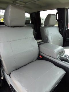 Exact Seat Covers, F367 L7, 2004 2008 Ford F150 XLT Super Crew and Lincoln Mark LT Front Bucket Seats Custom Exact Fit Seat Covers, Silver Vinyl Leatherette Automotive