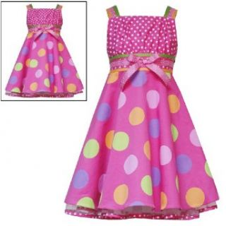 Rare Editions Girls 2T 6X FUCHSIA PINK WHITE MULTI DOT EMPIRE WAIST RIBBON Special Occasion Wedding Flower Girl Easter Birthday Party Dress   6x Clothing