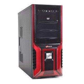 Logisys CS368RB 10 Bay ATX Mid Tower Case w/480W 20+4 pin Power Supply Unit & 80mm Fan (Red/Black) Computers & Accessories