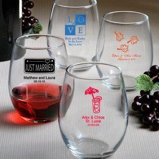 Wine Glass Wedding Favors Personalized Stemless Wine Glasses, 108 Health & Personal Care