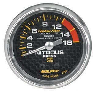 Auto Meter 4828 Carbon Fiber Mechanical Nitrous Pressure Gauge Automotive