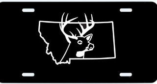 "1 , License Plate, "" MONTANA BUCK "", is a, White, Vinyl, Computer Cut , DECAL , Installed , on a, Black Coated, Aluminum, Car Plate, the, Novelty, Front Tag, has a, BUCK, and, State Outline, Car Tag, #00026MONTANA DEER,,,SHIPPED USPS Everything"