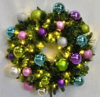 6' Pre Lit Warm White Sequoia Wreath Decorated with The Victorian Ornament Collection   Seasonal Celebration Lighting