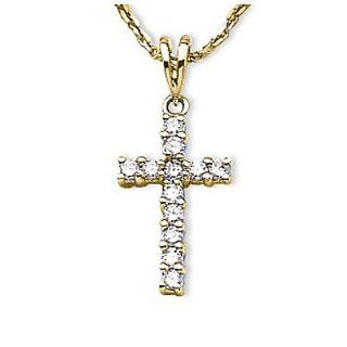 14K Yellow Gold Diamond Cross Pendant With 18 Inch Rope Chain Vishal Jewelry Jewelry