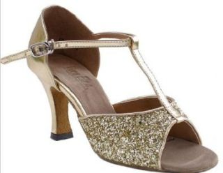 "Very Fine Shoes Ladies Latin, Rhythm, Salsa Series 5004 T Strap Ballroom Dance Shoe (Gold Sparkle) 3"" Heel Shoes"