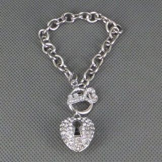 New Fashion Silver tone Metal Crystal Rhinestone Heart Key Chain Charm Bracelets Jewelry