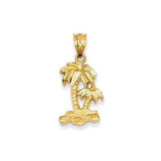 Diamond cut Palm Trees Pendant In Polished 14 Karat Yellow Gold Jewelry