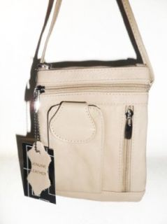 Off white Leather Cross Body Bag Messenger Bag Purse with cell phone pocket Shoes