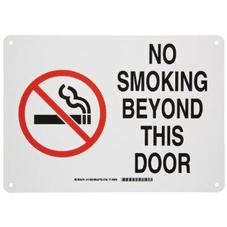 "Brady 141923 14"" Width x 10"" Height B 401 Plastic, Red and Black on White Sign, Legend ""No Smoking Beyond This Door"" (with Picto) Industrial Warning Signs"