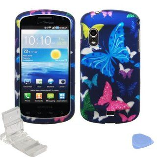 Purple Green Yellow Pink Blue Butterfly Design Rubberized Snap on Hard Shell Cover Protector Faceplate Skin Case + LCD Screen Guard Film + Mini Phone Stand + Case Opener for Verizon Samsung Stratosphere i405 (1st Generation) Cell Phones & Accessories