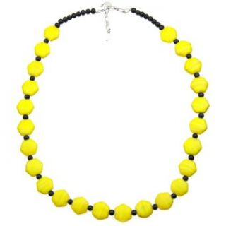 "18.5"" Yellow and Black Glass Bead Necklace with a Silver Plated Lobster Clasp and 1.5"" Extension Chain Clothing"