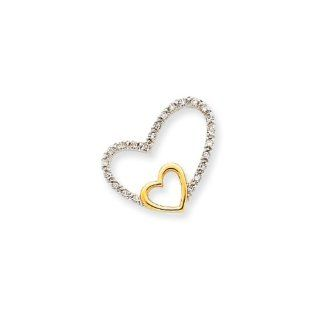 14k Two tone Gold And Diamond Double Heart Pendant   18mm Jewelry