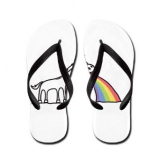 Artsmith, Inc. Women's Flip Flops (Sandals) Unicorn Vomiting Rainbow Clothing